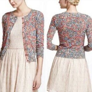Anthropologie Guinevere Cardigan 3/4 Sleeve Floral